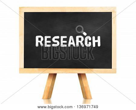Research Word And Magnify Glass Icon On Blackboard With Easel And Reflection On White Background,bus