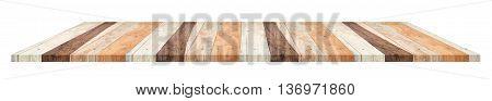 plank wood shelf isolated on white background
