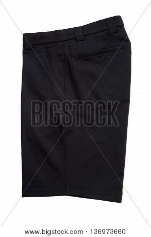 Black short pants trousers for men isolated on white background