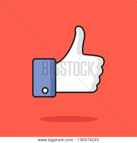 Like icon. Thumbs up. Modern thin line flat design graphic element for banners, websites, mobile app, infographics, printed materials. Vector icon