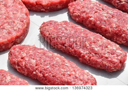 Raw Red Meat Long Kebabs, Cutlets On Parchment