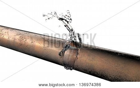 Bursted Copper Pipe With Water Leaking Out