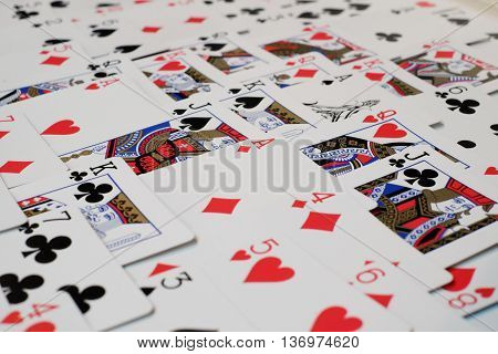 The deck of cards and ace of diamond