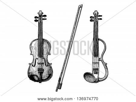 Bowed string instruments. Vector hand drawn illustration of violin and fiddle-bow.