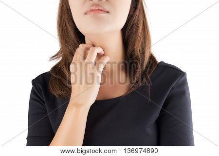 Woman scratching her itchy neck isolate on white background