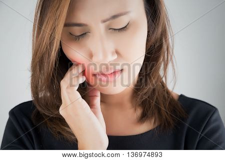 Have a toothache, isolate on white background