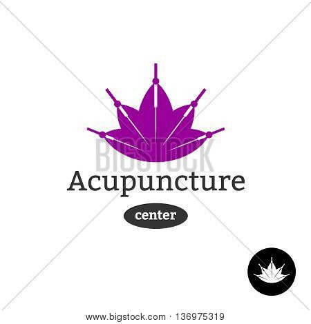 Acupuncture Center Logo. Needles With Lotus Flower Silhouette.