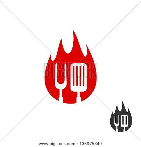 Bbq Icon Logo. Grill Fork And Spatula On A Fire Shape Background. Black And Red Color Versions.