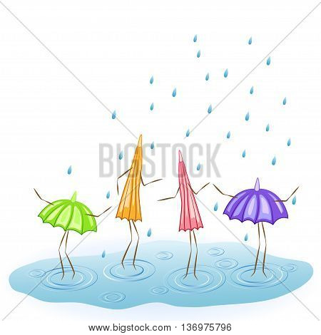 Four cartoon umbrellas. Dance in the rain. Vector illustration