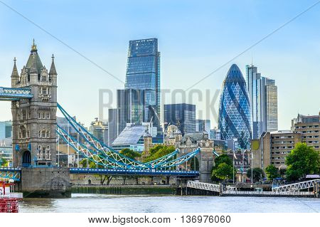 Tower  Bridge And Financial District Of London