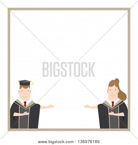 Illustration vector Half-length cartoon character male and female students in academic gown message box frame. Education Graduation Character Concept.