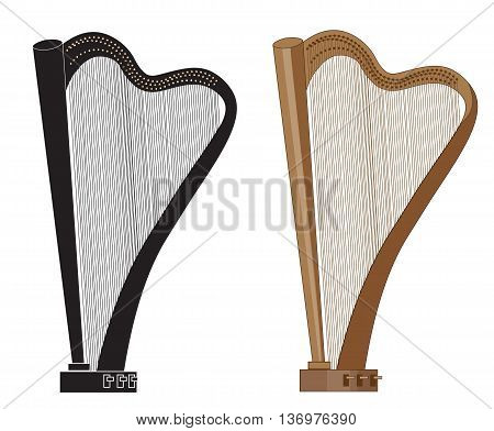 two vector harps in animated style  brown and black
