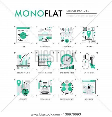Seo Optimization Monoflat Icons