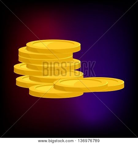 Stack of gold coins icon in cartoon style for any design