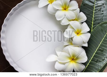Charm And Harmonious White Flowers Plumeria Or Frangipani In White Tray And Water