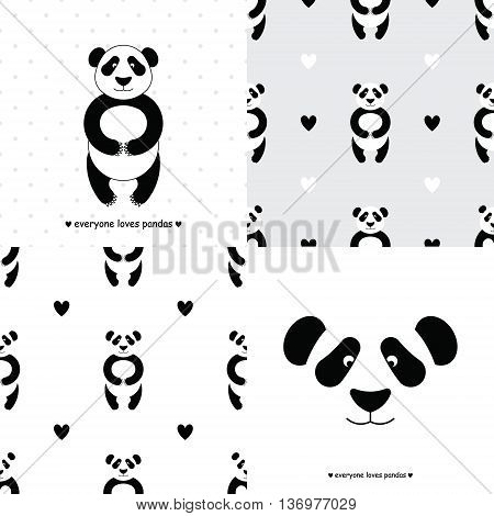 Panda bear set. Vector flat Panda. Cute cartoon Panda. Cartoon panda vector. Panda baby. Adorable panda bear. Panda bear seamless pattern. Chinese Panda bear.