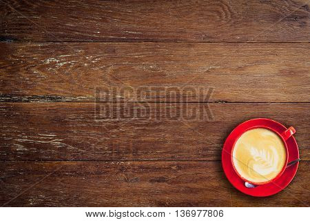 Red Coffee Cup On Old Wood Background With Space.