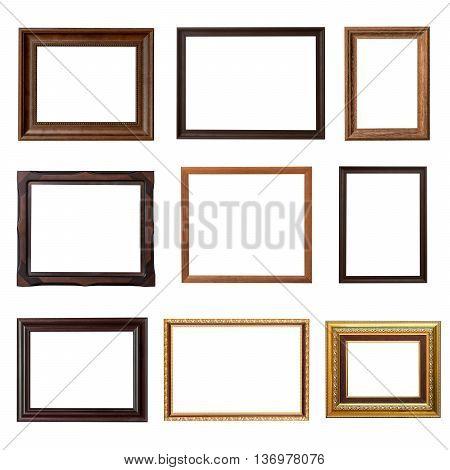 Wood frame photo set on isolated white background
