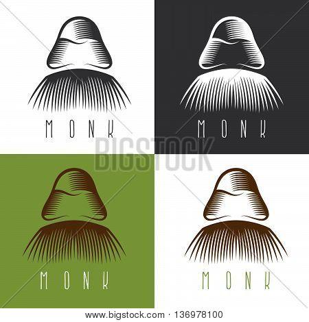 Monk Face Set Vector Simple Design Illustration