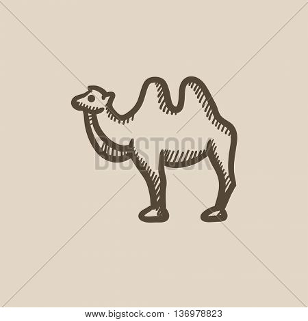 Camel vector sketch icon isolated on background. Hand drawn Camel icon. Camel sketch icon for infographic, website or app.