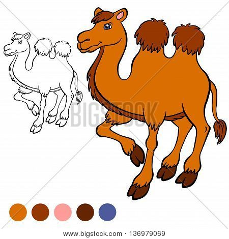 Coloring page. Color me: camel. Cute camel stands and smiles.