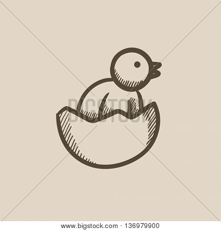 Chick peeking out of egg shell sketch icon for web, mobile and infographics. Hand drawn chick icon. Chick vector icon. Chick icon isolated on white background.