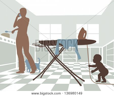 Editable vector illustration of a distracted mother with baby in danger from pulling on the cord of an iron