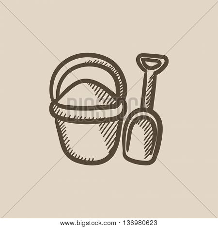 Bucket and spade for children vector sketch icon isolated on background. Hand drawn Bucket and spade for children icon. Bucket and spade for children sketch icon for infographic, website or app.