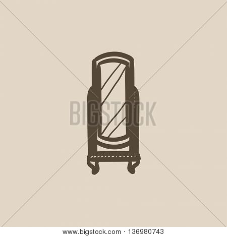 Swivel mirror on stand vector sketch icon isolated on background. Hand drawn Swivel mirror on stand icon. Swivel mirror on stand sketch icon for infographic, website or app.