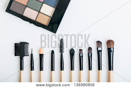 Set of various natural bristle makeup brushes for eyebrow and color palette