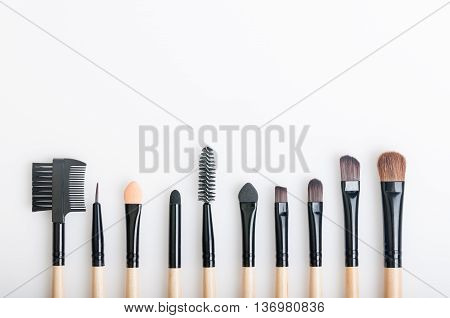Set of various natural bristle makeup brushes for eyebrow