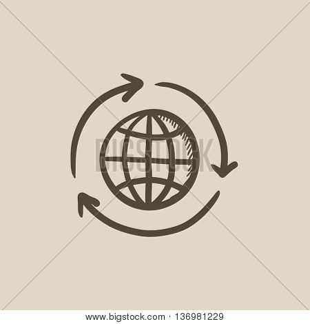Globe with arrows vector sketch icon isolated on background. Hand drawn Globe with arrows icon. Globe with arrows sketch icon for infographic, website or app.