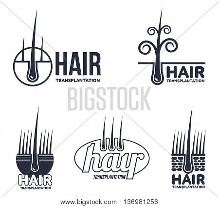 Set of hair transplantation logo templates, vector illustration isolated on white background. Hair loss treatment. Logos for medical hear transplantation centers