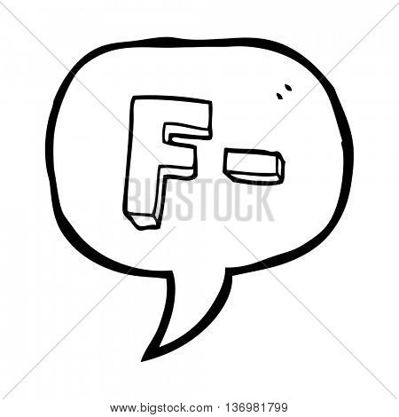 freehand drawn speech bubble cartoon F grade