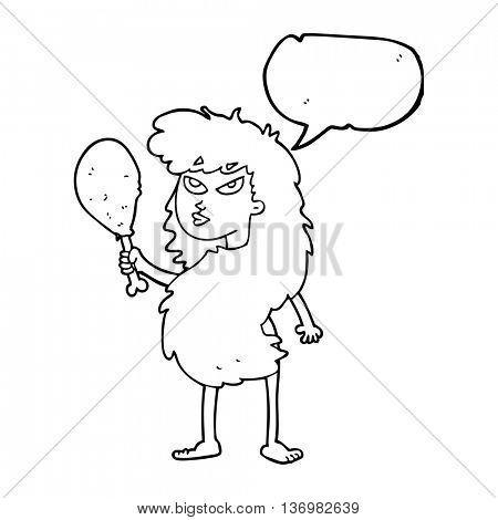 freehand drawn speech bubble cartoon cavewoman with meat