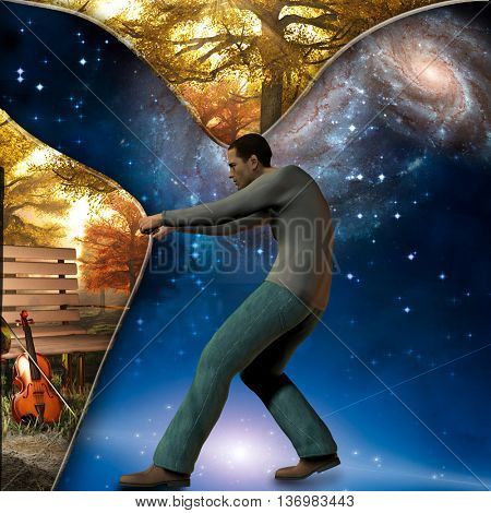 Man pulls back curtain showing peaceful scene with violin 3D Render