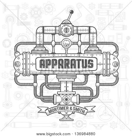 Steampunk machinery engineer robotic composition. Fantastic device. Isolated vector illustration. Text background shadows fill and stroke on separate layers - full editable.