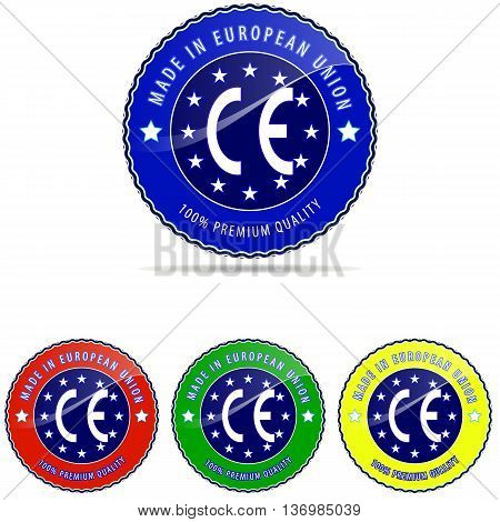 Europe label made stamp vector badge european round seal isolated.