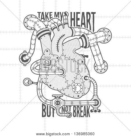 Mechanical heart Image in steampunk style. Heart motor vintage lettering. Background fill stroke hatching and text on separate layers. Full editable vector illustration.