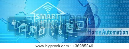 Smart Home Automation Concept Banner with various icons