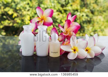 Set Of Bubble Bath And Shower Gel Liquid With Pink Flower