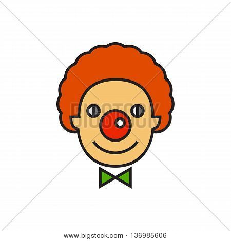 Illustration of smiling clown face. Entertainment, cicus, having fun. Circus concept. Can be used for topics like circus, entertainment, childhood