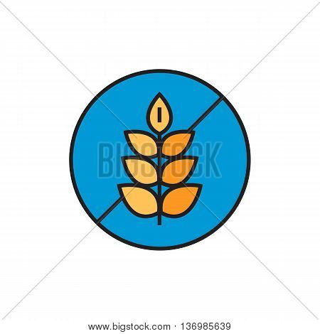 Illustration of crossed wheat ear in circle. Gluten free sign, food, products, allergy. Free allergen product concept. Can be used for topics like food, shopping, nutrition