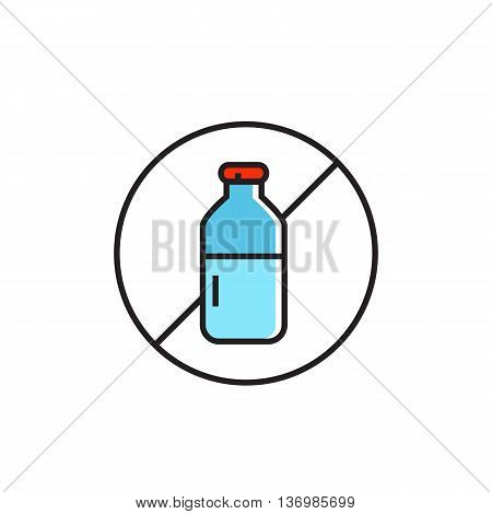 Illustration crossed milk bottle in circle. Diary free sign, food, diary free products, allergy.  Free allergen product concept. Can be used for topics like food, shopping, nutrition