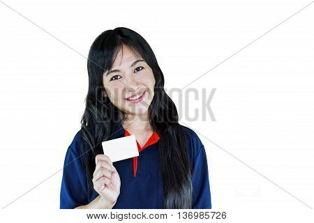 Isolated Smiling Asian Women Presenting Blank Member Or Name Card