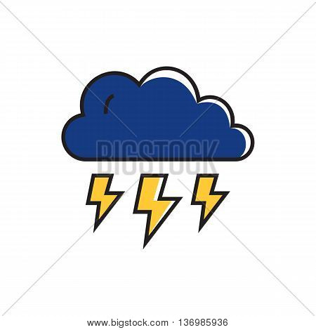 Cloud and lightning illoustration. Heavy thunderstorm, cloudy weather, weather forecast. Weather concept. Can be used for topics like weather, meteorology, weather forecast