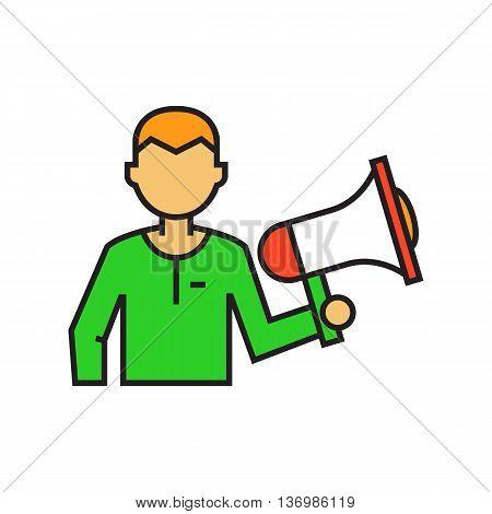 Man holding megaphone. Loudspeaker, speaker, leadership, communication. Leadership conccept. Can be used for topics like communication, leadership, politics