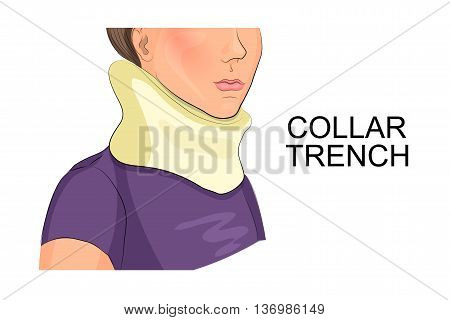 illustration of a girl's neck in the collar of the trench