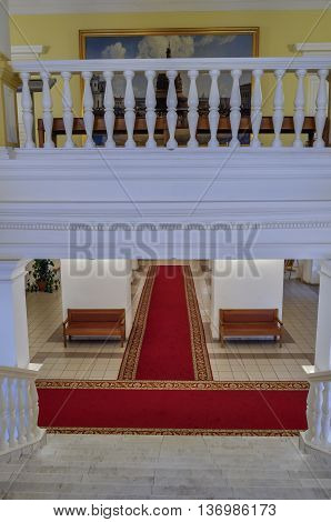 VELIKY NOVGOROD RUSSIA-JULY 1 2016. Entrance hall and second floor in the interior of the Art Museum of Veliky Novgorod architecture view