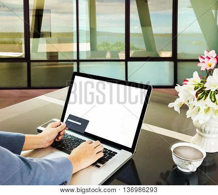 Businesswomen Hands With Credit Or Debit Card And Notebook On Working Counter